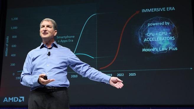 Mark Papermaster, jefe de Tecnología y vicepresidente sénior de la empresa AMD en una de sus 'keynote'