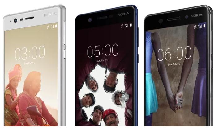 De izquierda a derecha: Nokia 3, 5 y 6