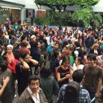 Evacuación en la Facultad de Música de la UNAM. (Martín Salas)